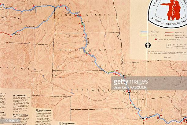 On the tracks of Lewis and Clark in United States Map of their journey