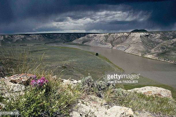On the tracks of Lewis and Clark in United States Missouri river White cliff in Montana