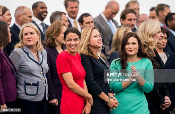 WASHINGTON DC On the US Capitol east front plaza 116th Congressional freshman Representatives like Sylvia Garcia Alexandria OcasioCortez Debbie...