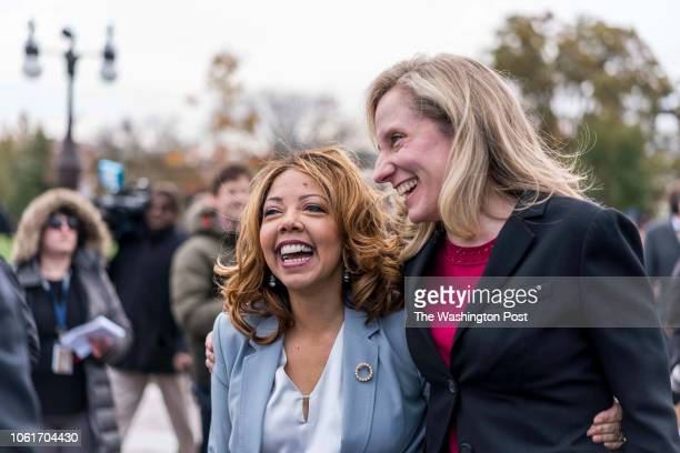 WASHINGTON DC On the US Capitol east front plaza 116th Congressional freshman women Representatives like Lucy McBath and Abigail Spanberger hug after...