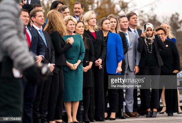 WASHINGTON DC On the US Capitol east front plaza 116th Congressional freshman women Representatives Chrissy Houlahan Gina Ortiz Jones Abigail...