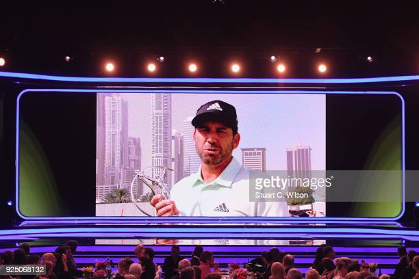 On the video screen Sergio Garcia holds his Laureus World Breakthrough of The Year 2018 Award during the 2018 Laureus World Sports Awards show at...