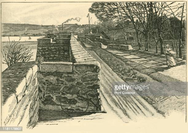 On the Walls of Berwick Looking Across the Tweed' 1898 Berwick town walls were built in the early 14th century under Edward I and strengthend by Sir...