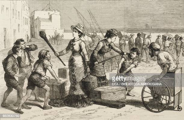 On the way to the front boys trying to steal the British luggage at Brindisi Italy Second AngloAfghan War illustration from the magazine The Graphic...
