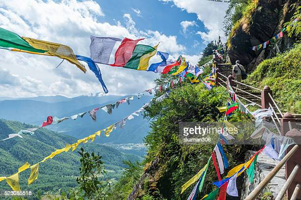 on the way to tiger's nest temples (taktsang), sacred place of bhutan - bhutan stock pictures, royalty-free photos & images