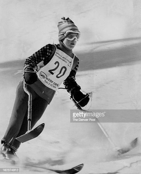 FEB 22 1974 On the Way to Victory Debbie Philips of Binghamton NY moved down slalom course on way to winning the girls three track championship...