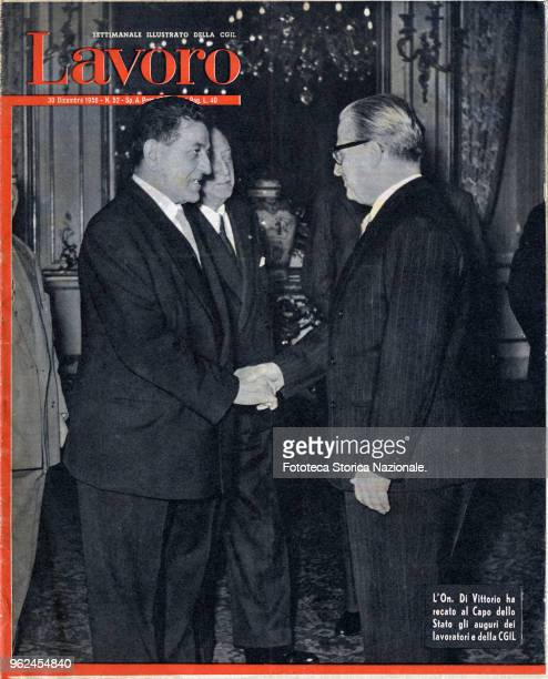 'The Hon Di Vittorio has brought to the head of the State the wishes of the workers of the CGIL' In the photo the handshake between the national...