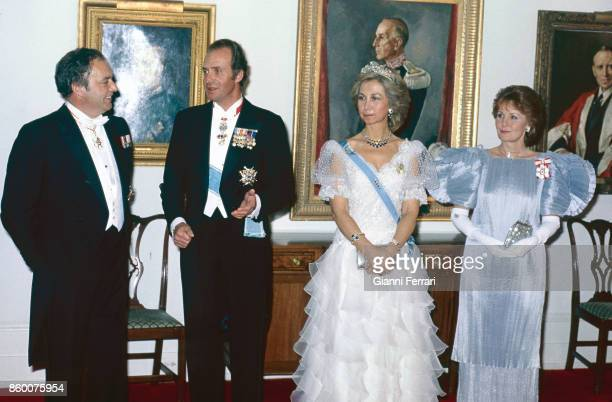 On their official trip to Canada the Spanish Kings Juan Carlos and Sofia are received by the Governor General of Canada Edward Schreyer Ottawa Canada