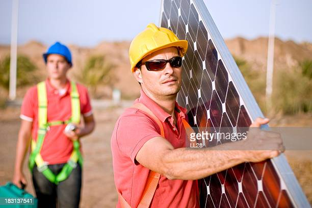 On their way to install a solar panel