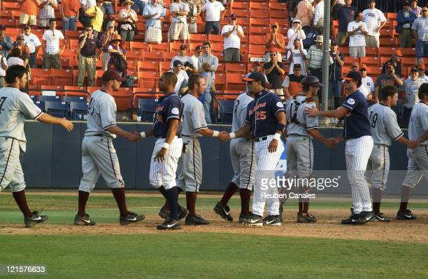 On their way to the College World Series the Arizona State Sun Devils congratulate the Titans after a 9 to 8 victory in the NCAA Fullerton...