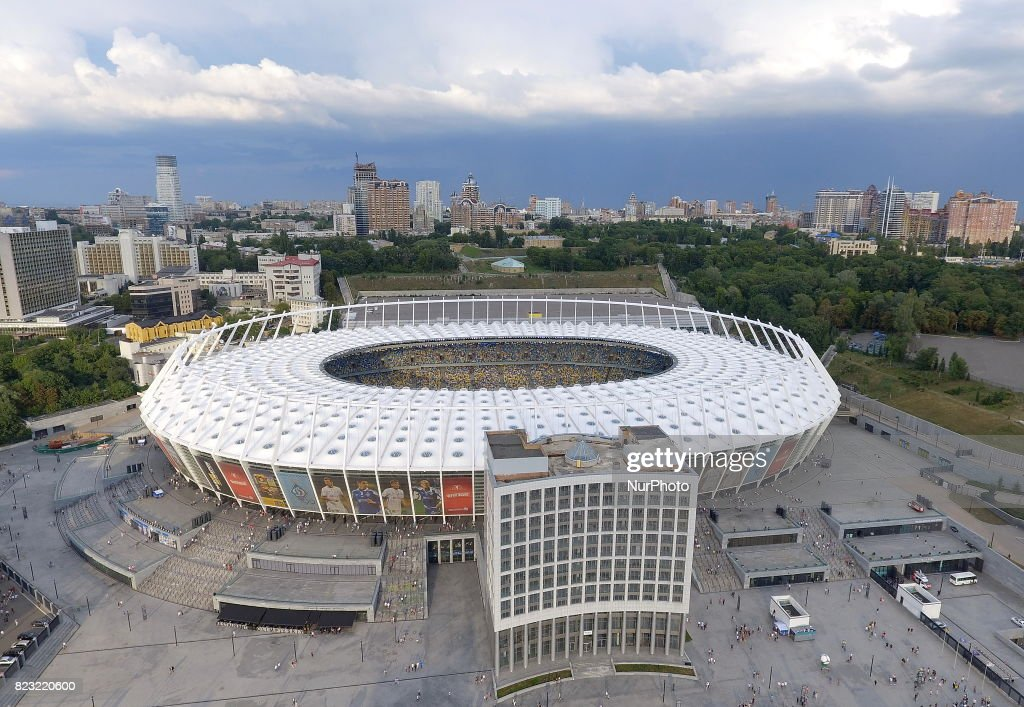 On this aerial photo, the view of the Olympic National Stadium before the match of the third qualifying round of the Champions League between the teams of Dynamo Kiev and Young Boyes in Kiev. Ukraine, Wednesday, July 26, 2017 The final of the Champions League in 2018 will take place at the Olympic Stadium in the Ukrainian capital Kiev.