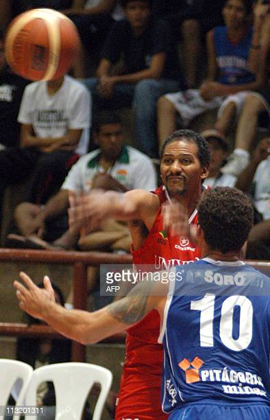 On this November 2007 file picture, US basketball player Tony Lee Harris of Brazilian team Universo, lauches the ball during a match of the 44th...