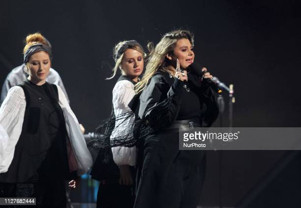 On this photo taken on 23 February 2019 Ukrainian band KAZKA performs during the 2019 Eurovision Song Contest national selection show orginized by...