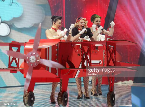On this photo taken on 23 February Ukrainian girl band Freedom jazz performs with songs quotCupidonquot during the 2019 Eurovision Song Contest...