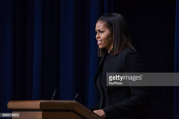 On Thursday December 15th in the South Court Auditorium of the Eisenhower Executive Office Building of the White House First Lady Michelle Obama...