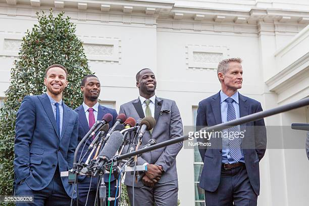 WASHINGTON DC – On Thursday February 4 from left to right Golden State Warriors point guard Stephen Curry Forward Harrison Barnes Forward Draymond...