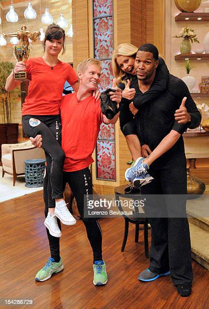 MICHAEL 10/17/12 On today's LIVE with Kelly and Michael the hosts went headtohead in a fierce competition with Wife Carrying World Champions Taisto...