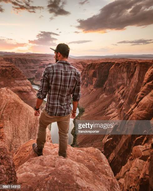 on top of horse shoe bend - lake powell stock pictures, royalty-free photos & images