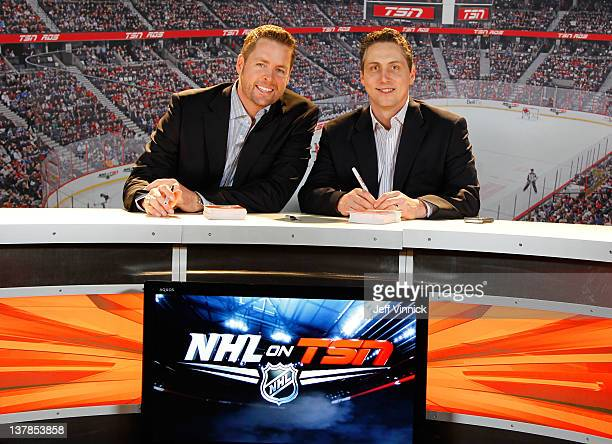 NHL on TSN Analysts Aaron Ward and Darren Dreger attend the NHL Fan Fair as part of the 2012 NHL AllStar Weekend at Ottawa Convention Centre on...