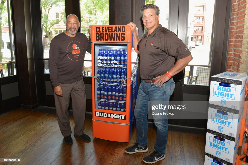 """Bud Light And The Cleveland Browns Unveil The """"Bud Light Victory Fridge"""" In Cleveland With The Help Of Browns Legends Felix Wright And Frank Stams"""