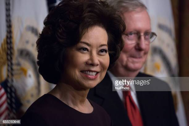 On Tuesday January 31 Elaine Chao after her swearingin as the Transportation Secretary with her husband Senator Mitch McConnell in the Vice...