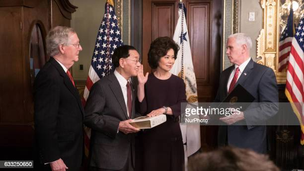 On Tuesday January 31 US Vice President Mike Pence conducted a swearingin of Elaine Chao as the Transportation Secretary as her father James Chao and...