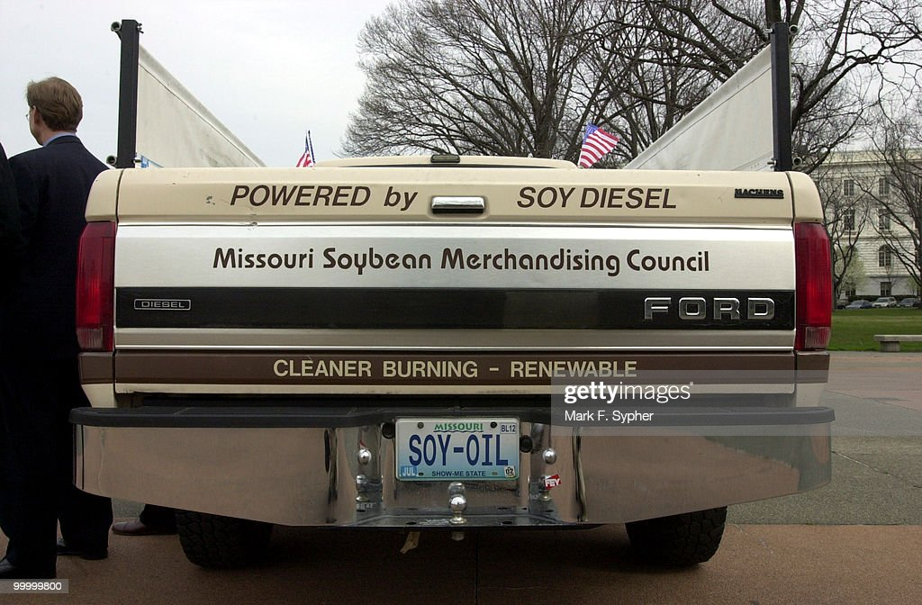 On Tuesday, next to the Russell Senate Office Building resided the soy powered pickup truck, which has over 300,000 miles on the odometer isn't shy about being 'alternatively fueled.'