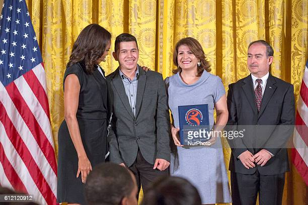 On Tuesday, November 17 Jerry Amaya receives his award from First Lady Michelle Obama with distinguished guest Ambassador of Honduras, Alberto Milla...