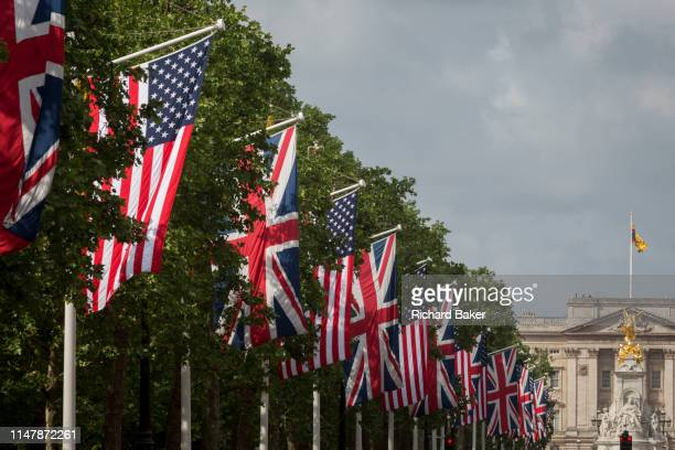 On US President Donald Trump's first day of a controversial three-day state visit to the UK by the 45th American President, The US Stars and Stripes...