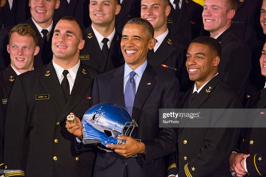 Obama Hosts Naval Academy Football Team At White House