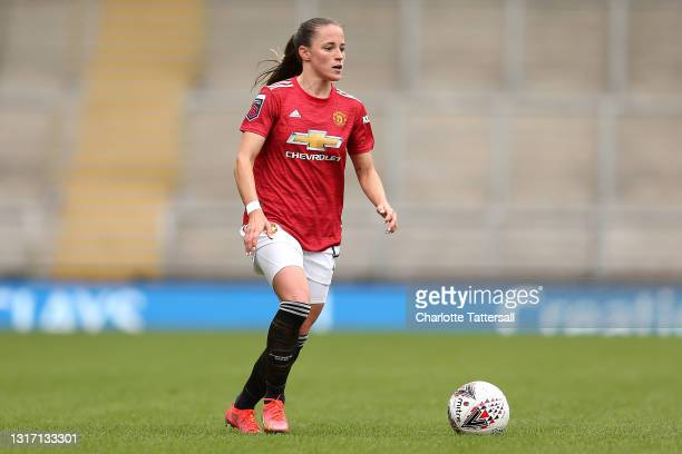 Ona Battle of Manchester United runs with the ball during the Barclays FA Women's Super League match between Manchester United Women and Everton...