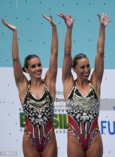 Ona Carbonell and Gemma Mengual of Spain celebrates the first position in the Duets Technical Routine First Round during the FINA Olympic Games...