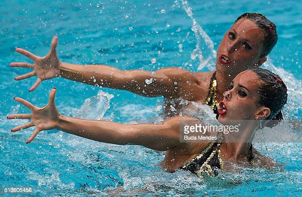 Ona Carbonell and Gemma Mengual of Spain compete in the Duets Technical Routine First Round during the FINA Olympic Games Synchronised Swimming...