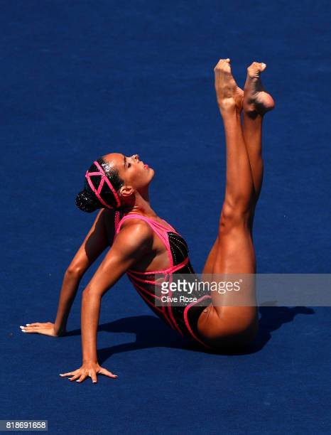 Ona Carbonell of Spain competes during the Synchronised Swimming Solo Free Final on day six of the Budapest 2017 FINA World Championships on July 19...
