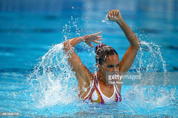 Ona Carbonell of Spain competes in the Women's Solo Technical Synchronised Swimming Final on day one of the 16th FINA World Championships at the...