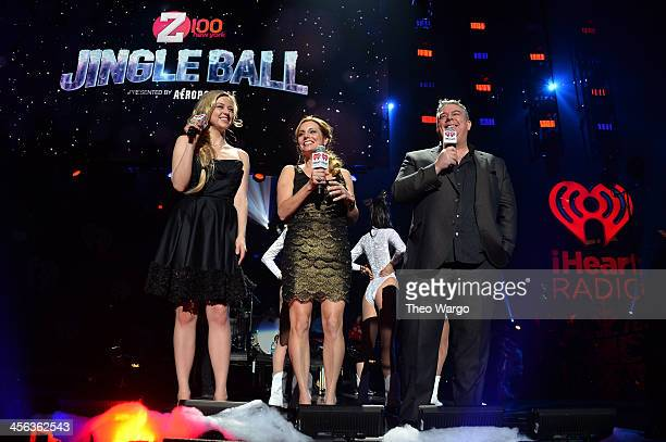 OnAir Personalities Bethany Watson Danielle Monaro and host Elvis Duran speak onstage during Z100's Jingle Ball 2013 presented by Aeropostale at...