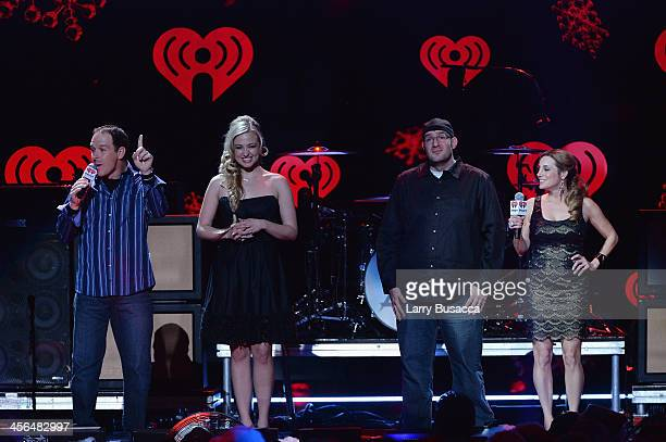 OnAir personalities Froggy Bethany Watson JJ Kincaid and Danielle Monaro speak onstage during Z100's Jingle Ball 2013 presented by Aeropostale at...