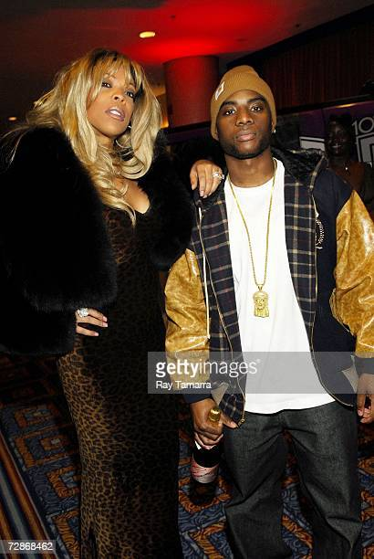 WBLS onair personalities Wendy Williams and Charlemagne pose during WBLS's Party With A Purpose at the Marriott Marquis on December 21 2006 in New...