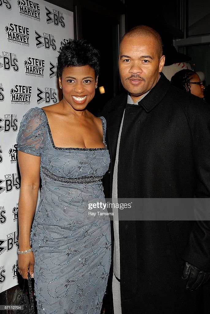 WBLS on-Air personality Jaque Reid (L) and Codeblack Entertainment President Jeff Clanagan attend the premiere of Steve Harvey's 'Don't Trip...He Ain't Through With Me Yet' at the Magic Johnson Theaters March 16, 2006 in New York City.