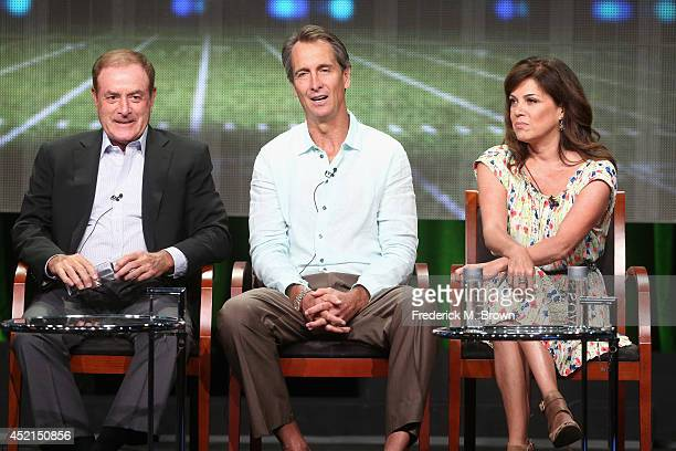 Onair talent Al Michaels Cris Collinsworth and Michele Tafoya speak onstage at the 'Sunday Night Football' panel during the NBCUniversal NBC Sports...