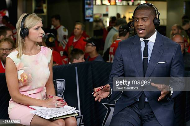 NHL onair talent Kevin Weekes speaks during the pregame show with host Kathryn Tappen before Game Three of the 2015 NHL Stanley Cup Final between the...