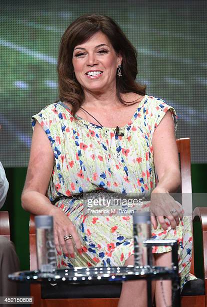 Onair talent Michele Tafoya speaks onstage at the 'Sunday Night Football' panel during the NBCUniversal NBC Sports portion of the 2014 Summer...