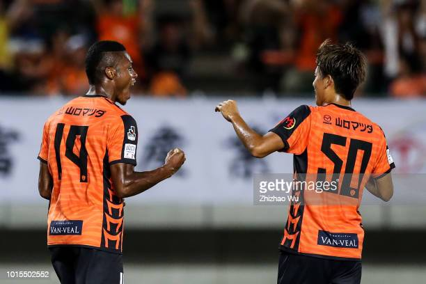 Onaiwu Ado celebrates his scoring during the JLeague J2 match Renofa Yamaguchi and Tokushima Vortis at Ishin MeLife Stadium on August 12 2018 in...