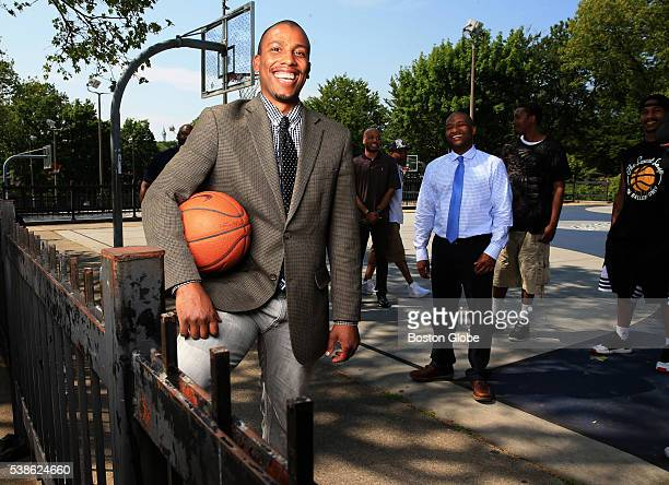 Onaje Woodbine a former Yale University basketball player and current philosophy and religious studies teacher at Phillips Academy in Boston poses at...
