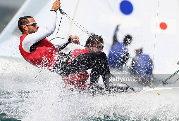 Onan Barreiros Rodriguez and Aaron Sarmiento Padilla of Spain in action during a 470 Mens Class race during day six of the Weymouth and Portland...