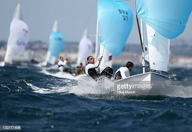 Onan BarreirosRodriguez and Aaron SarmientoPadilla of Spain in action during a 470 Mens Class race on day nine of the Weymouth and Portland...
