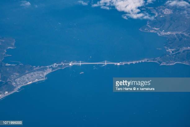 Onaruto Bridge (Great Naruto Bridge) in Japan daytime aerial view from airplane