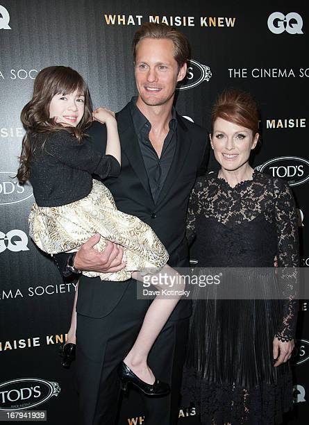 Onata Aprile Alexander Skarsgard and Julianne Moore attend a screening hosted by The Cinema Society With Tod's GQ of Millennium Entertainment's What...