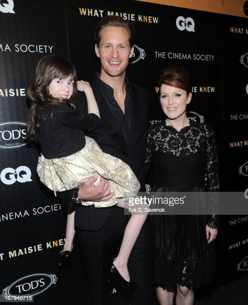 Onata Aprile Alexander Skarsgard and Julianne Moore attend The Cinema Society with Tod's GQ screening of Millennium Entertainment's What Maisie Knew...