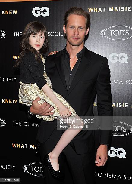 Onata Aprile and Alexander Skarsgard attend The Cinema Society with Tod's GQ screening of Millennium Entertainment's What Maisie Knew at Sunshine...